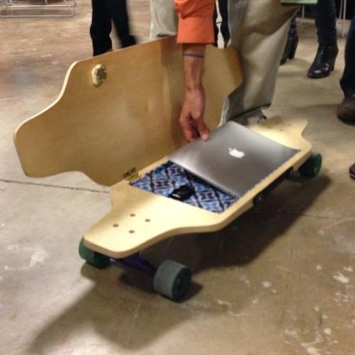 Startup Bus at SXSW details behind geek skateboard @briefskate Listen in: at Rackspace Hosting by scobleizer