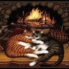 Crackling fire/purring cat