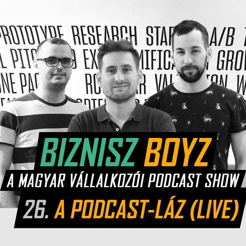 26. A Podcast-láz (LIVE) - A podcast piac jelene és a BB jövője   Biznisz Boyz Podcast