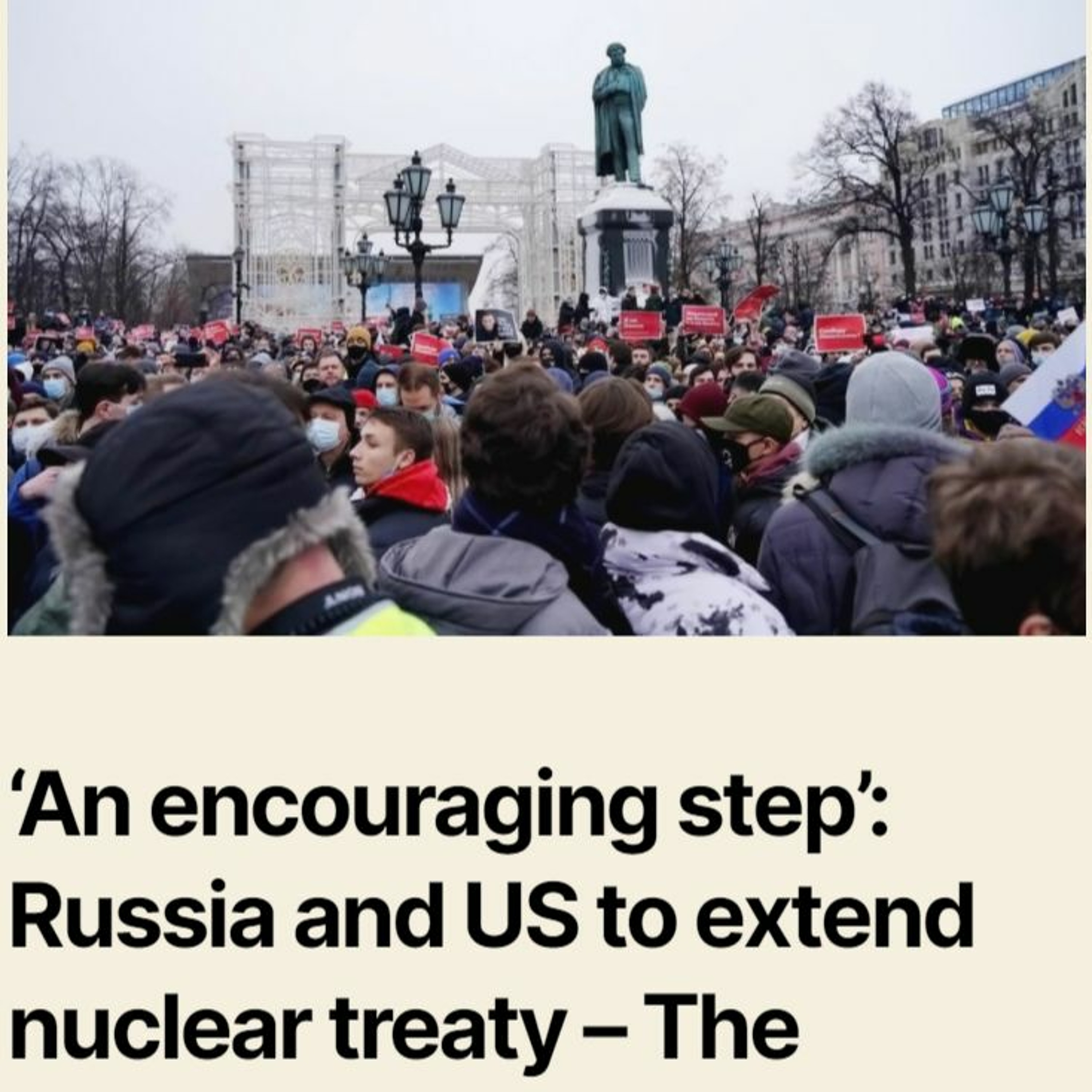 4:54 AM 1/24/2021 – 'An encouraging step': Russia and US to extend nuclear treaty