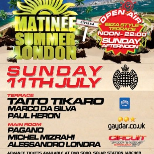 Michel Mizrahi @Matinee @Ministry of Sound London, Live Set- July 11, 2010