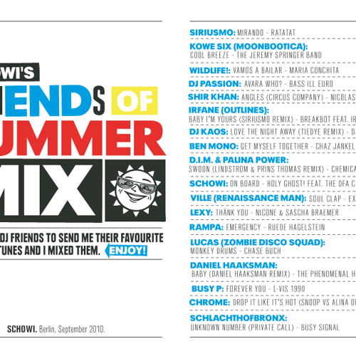 SCHOWI'S friENDs OF SUMMER MIX (2010)