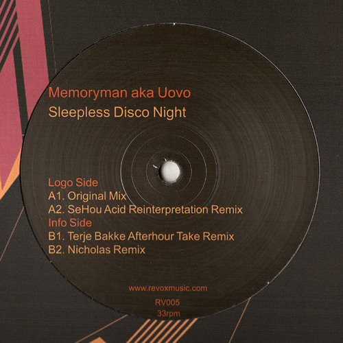 "RV005 - Memoryman aka Uovo - ""Sleepness Disco Night"" (Nicholas Remix)"