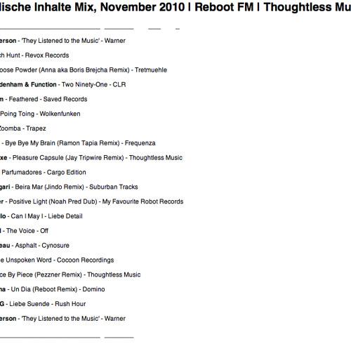 Kanadische Inhalte Mix, November 2010 | Reboot FM | Thoughtless Music