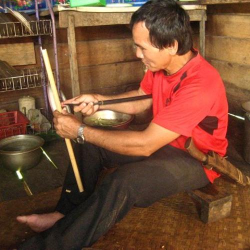 Maurice playing Keringot, traditional Penan nose flute