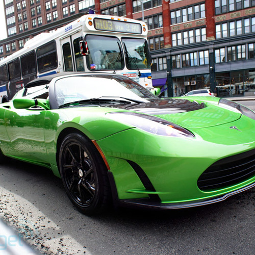 Tesla Roadster startup and twisty road