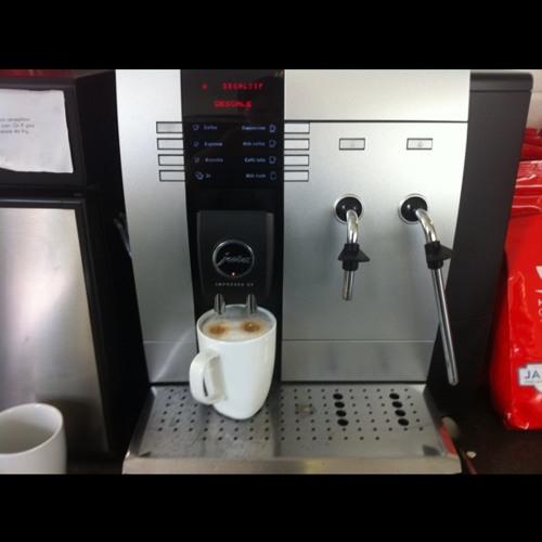 Pouring a cappucino... at Soundcloud London HQ