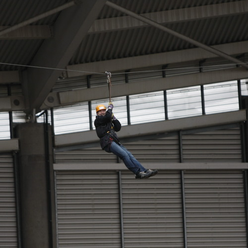 Mark Scott Does The Big Zip Hull For Marie Curie Cancer Care