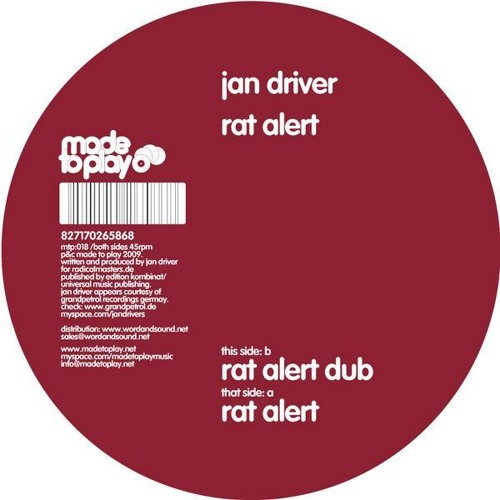 Jan Driver - Rat Alert (Ben Tactic Edit)