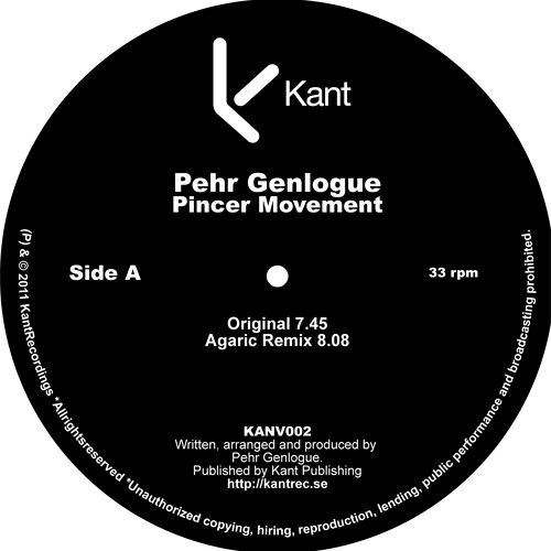"""Pincer Movement (Agaric remix) - Kant Records 040, 12"""""""