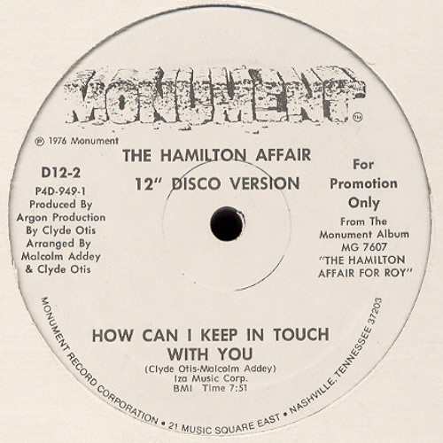 The Hamilton Affair ''How Can In Keep In Touch With You'' Promo Disco Version (Demo)