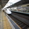 Shinkansen train at train station, Japan