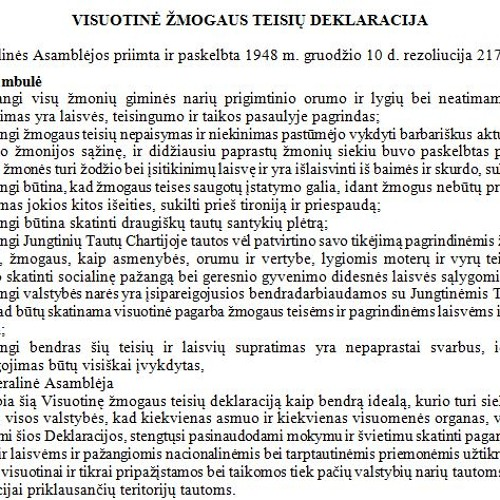UN Declaration of Human Rights: Lithuanian