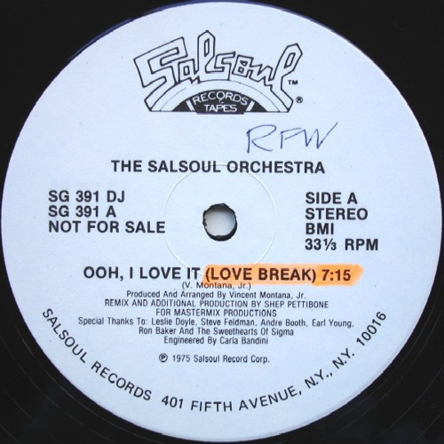 Salsoul Orchestra - Ooh I Love It (Love Break) - Shep Pettibone remix 1975