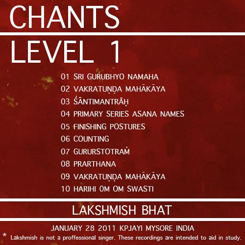 Ashtanga Yoga Chants Level 1