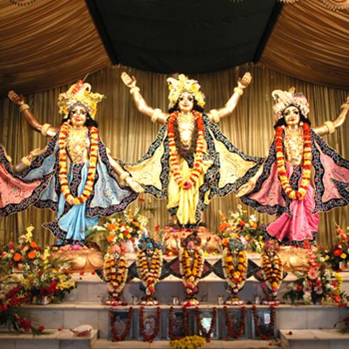 Hare Krsna mahamantra during mangala arati @ ISKCON Mayapur, WB