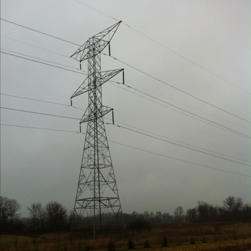 High voltage lines in a misting rain at Germantown