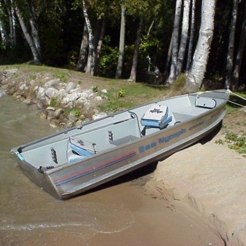 Aluminum Boat, Water Lapping, Distant Traffic, Ambience