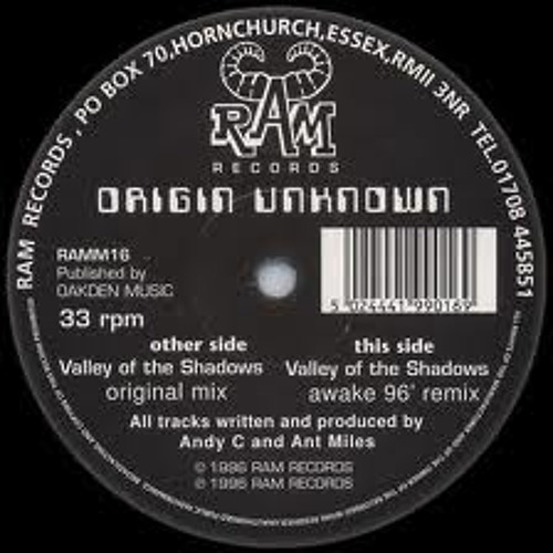 "Origin Unknown - Valley Of The Shadows 12"" Vinyl 1998"
