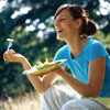 laughing alone with salad