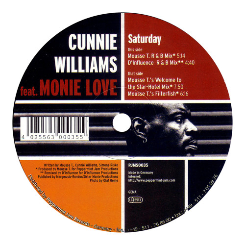 """Cunnie Williams feat. Monie Love - Saturday (Mousse T.'s """"Welcome To The Star Hotel"""" Mix)"""