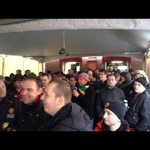 Old trafford sing song at Manchester United Football Ground Railway Station (MUF)