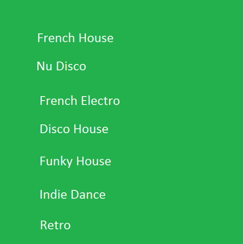 French House/Nu Disco/Disco House/French Electronic/Boogie/Disco/Funk/Funky Electro-House/Electro Funk/Funky House/Indie Dance/Retro/Synth Pop