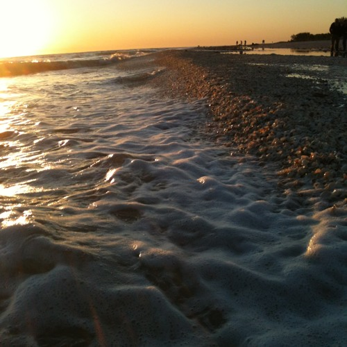 Sounds of the Gulf..waves washing ashore on a calm evening on Sanibel Island.