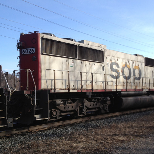 Freight train idling and departing at a crawl sound effect, D50