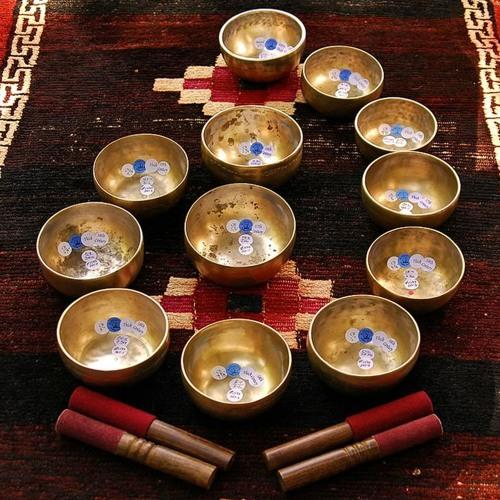 Tibetan Singing Bowls: Antique 7-pc Cup Set . . . from Bodhisattva
