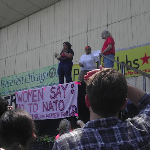 Tania Unzueta speaking at anti-NATO Rally