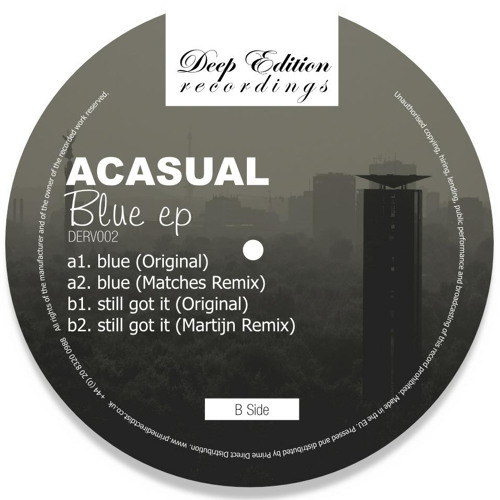 acasual - blue ep (inc matches & martijn remixes) [derv002] 12""