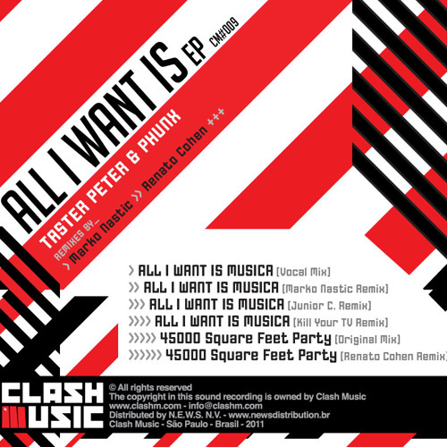 CM0009 - All I Want Is EP - Taster Peter & Phunx - 45000 Square Feet Party - Renato Cohen Remix