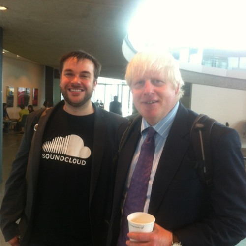 Mayor Boris Johnson telling me what the best sound of the Olympics will be at City Hall (Greater London Authority)