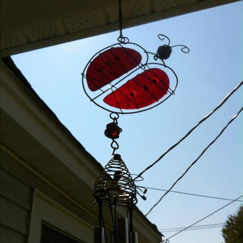 Ladybug wind chimes at Clover SC