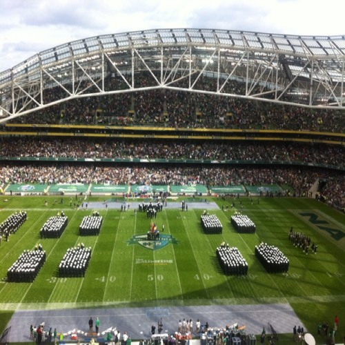 Navy Glee club sing Amhran Na bhFiann at Emerald Isle Classic at Aviva Stadium