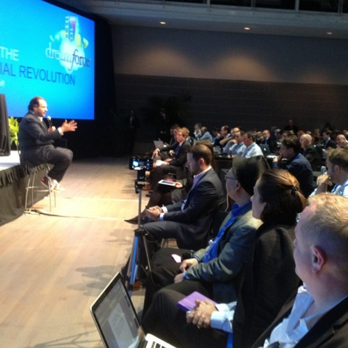 Salesforce CEO Marc Benioff answers my contextual question at his press conference. at Yerba Buena Center for the Arts