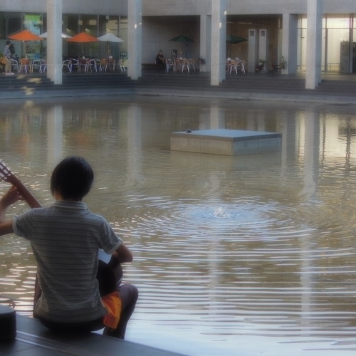 Busker on Guitar by a fountain in Tokamachi, Japan 08Oct2012