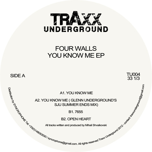 TU004 - Four Walls - You Know Me EP (incl. Glenn Underground's SJU Summer Ends Mix)
