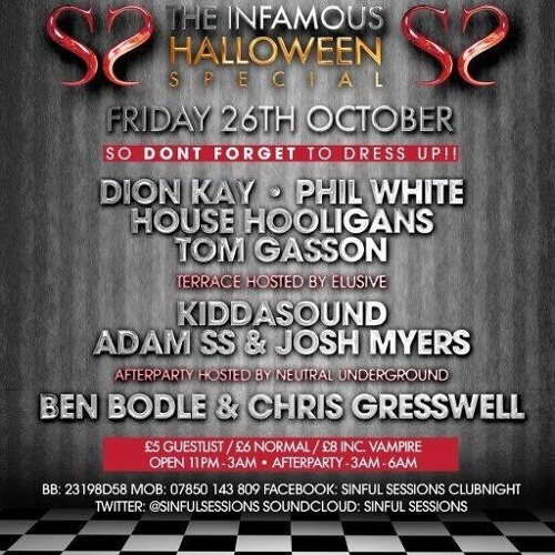SINFUL HALLOWEEN SPECIAL FRIDAY 26TH OCTOBER @ TOKYO BRADFORD MIXED BY BEN BODLE