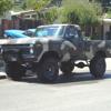 jacked up. camo truck