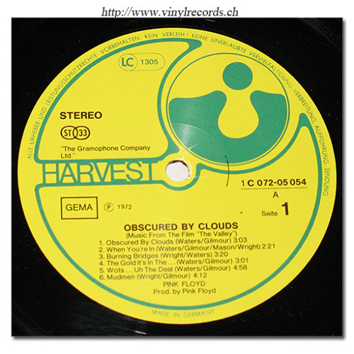 "side 1 ""Obscured By Clouds"" - Pink Floyd (vinyl)"