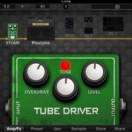 JamUp Pro XT iOS app: Gibson SG Classic & Stomp Tube Driver Pedal & Plexiglas amp