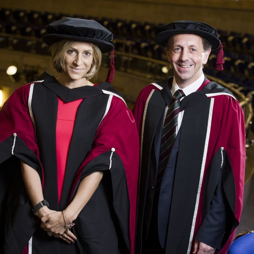 Emily Maitlis and Mark Ridgway collect honorary doctorates