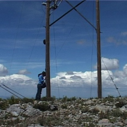 Electricity going trough a post (Mexico, Real de Catorce SLP)