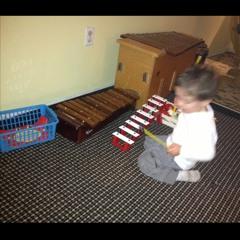 patrick playing a xylophone and marimba at Home