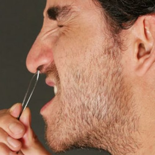 antiseptic/pulling nose hairs
