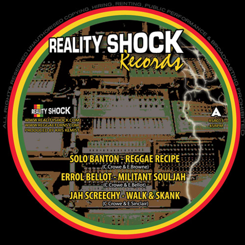 "Reggae Recipe 12"" - Solo Banton, Errol Bellot, Jah Screechy, Tippa Irie, Solomon James Browne"