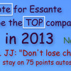 Vote for Essante to be the Top Company, don't miss a check, new tools 12-17-12