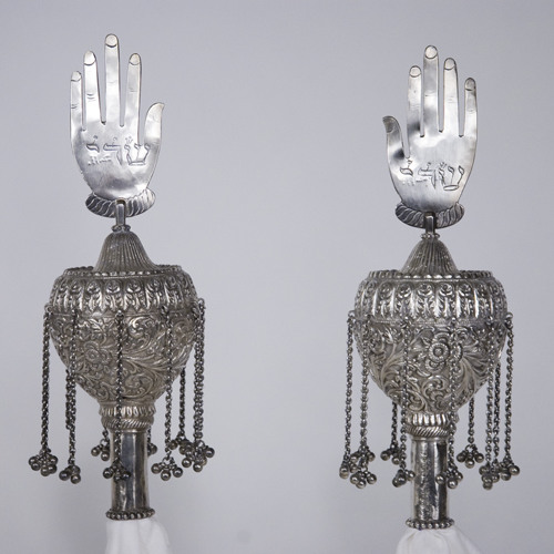 Torah Finials [68.79.1]: with eleven three-beaded silver clappers (India, n.d.)